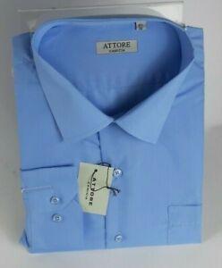 Camicia Uomo Attore Manica Lunga 100%Cotone Taglie Forti 45/51 Calibrata art 325