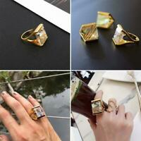 Strass Fingerring Golden Plated Zircon Geometric Square Frauen Heiß