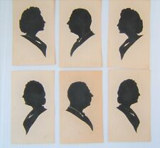 Vintage set of 6 men/women silhouettes black cut outs one index cards