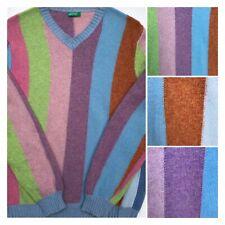 Vtg. United Colors Of Benetton Sweater Pastel Stripe Wool V Neck Italy Sz M