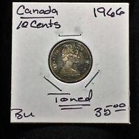 1966 CANADA 10 CENTS SILVER COIN QUEEN ELIZABETH II TONED BU