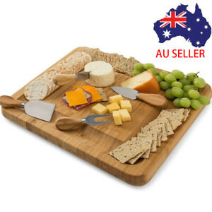 5 Bamboo Cheese Board with Knives Set Personalised Wedding Gift