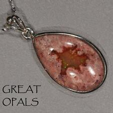 27ct NATURAL MEXICAN CANTERA FIRE OPAL STERLING SILVER PENDANT NECKLACE & CHAIN