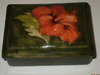 Vintage Moorcroft Hibiscus Flower Design Pottery Trinket Box with Lid, Signed