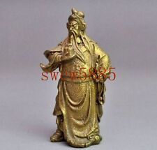 Chinese Old Pure Bronze Stand Guan Gong Yu Warrior God Guangong Dragon Statue RT