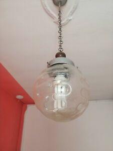 Lampadario palla sfera design anni 60/70 vetro di Murano lampada sospensione