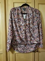 Womens The Limited Speckled Multi-Colored Criss-Cross V-Neck Front Small Blouse