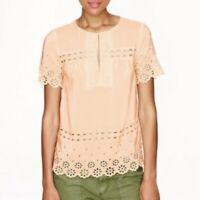 J Crew Size 4 Pink Peach 100% Silk Eyelet Short Sleeve Top Blouse Embroidered