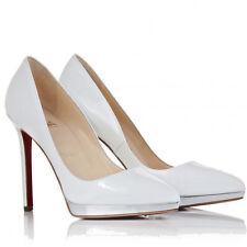Breathless Christian Louboutin White Patent Pigalle Plato 120 Heels Stilettos 36