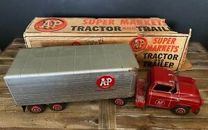 Vintage Marx A&P Supermarkets Pressed Steel Tin Toy Truck Tractor Trailer w/Box