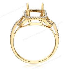 Precious Cushion 7.5mm Ring Semi Mount Real Diamond 0.2ct Solid 14k Yellow Gold