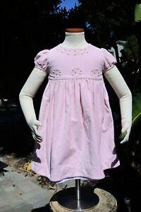 Luli & Me Dress Pink Velvet Embroidered Yoke Puff Sleeve Sash Cotton Sz 4T