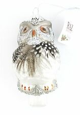 Owl Xmas Tree Hanging Decoration -Traditional Glass Style Silver/Grey from RAZ