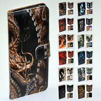 For Apple iPhone Series Case - Dragon Print Flip Wallet Phone Case Cover