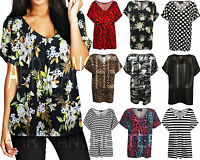 New Women Ladies Printed V Neck Turn Up Short Sleeve Loose Baggy Fit T Shirt To