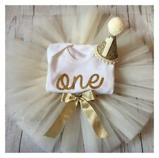 Ivory & Gold Cake Smash / 1st Birthday Outfit With Mini Party Hat