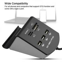 Type-C USB 3.1 + Micro USB to 3 Port USB 2.0 Hub Adapter Card Reader For Macbook