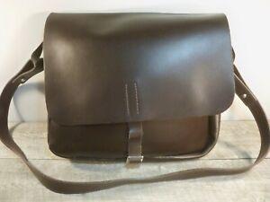 Vintage Zara All Leather Satchel Shoulder School University Messenger Unisex Bag