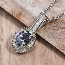 Peacock Tanzanite & Diamond (0.25 ct) Pendant Necklace Plat./Sterling Silver