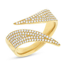 Womens 14K Yellow Gold Diamond Pave Wrap Wave Statement Ring Natural 0.42CT