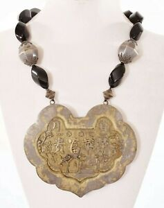 1930's Chinese Gilt Silver Lock Pendant Necklace Figurine Figure Calligraphy