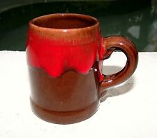 Vintage Brown & Red Drip Glaze Redware Pottery Toothpick Holder Mug -CANADA