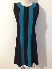 Oleg Cassini Sleeveless Knit Sheath Dress Black & Turquoise Size 0