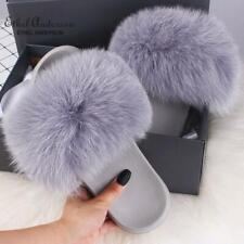 Summer Slides Women's Real Fox Fur Slippers Fluffy Fur Sliders