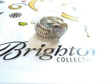 Brighton NWT 3 trio size 8 heart ornate sterling silver .925 ring VINTAGE w/ TIN