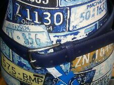 NWT Columbia Men's Belt sz 32 Navy Blue silver Buckle