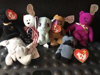 Ty Mcdonalds Meal Mini Beanie Lefty Donkey Bear Peanut Righty Elephant Lot 7 New