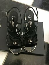 NIB 100% AUTH Chanel 15P Black Patent Leather Pearl Wedge Sandals $1550