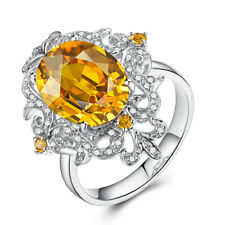 Sterling Silver Oval Citrine Real Diamonds Gemstone Vintage Ring Present Jewelry