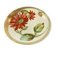 "Vintage Bavaria Hand Painted 8.5"" Plate Red Orange Flower Antique Signed ""Gray"""