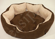 Pet Puppy Cat Dog Bed Cushion Mat Basket Warm Comfy Lining Washable Nest Easipet Brown Faux Suede