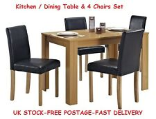 Dining Room Table With Chairs Kitchen Oak Rectangle Breakfast Dinner Living Set