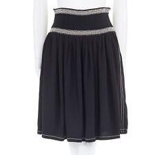 "PRADA black smocked elasticated waistband overstitched seams knee skirt IT38 26"""