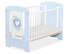 My Sweet Baby - Baby White Cot with Blue Heart - Blue