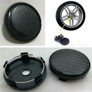 4x Black Carbon Fiber Look Center Wheel Hub Caps Decoration Cover 60mm/58mm Car
