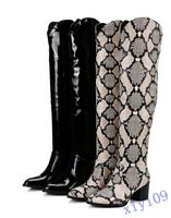 Fashion Womens Boots Knee High Block Boots Patent Leather Shoes snakeskin Casual