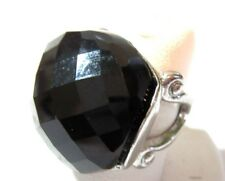 LARGE MULTIFACETED BLACK DOME PLASTIC AND SILVER TONE METAL RING SIZE 7 MODERN