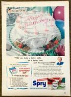 1952 Spry Vegetable Shortening PRINT AD Party Cake Aunt Jenny's Birthday Kit