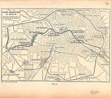 Allemagne Berlin plan carte de chemin de fer Métro Métropolitain GRAVURE 1884