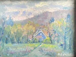 RAINY SPRING Day Original Impressionism Hudson Valley Art Oil Painting 8x10 1/2.