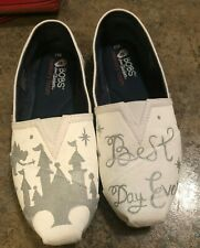 Skechers Bobs Hand Painted Disney World castle best day ever womens sz 8.5 wide