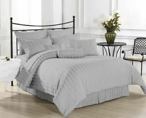 Premium Egy Cotton 1200 TC Duvet Set +Fitted Sheet Light Gray Striped All Sizes