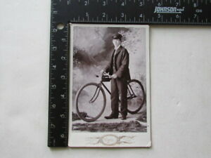 1890's Duluth Minnesota delivery boy & bicycle cabinet photograph