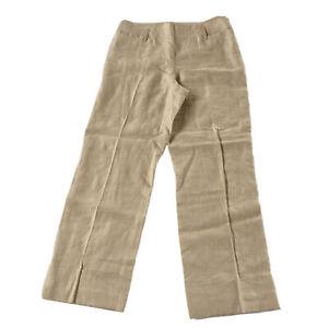 Ann Taylor Loft 100% Linen Wide Leg Cuffed Capri Pants in Beige, Size 4. EUC