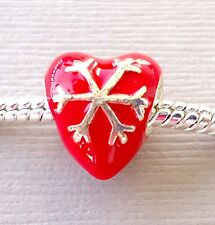 One Red Charm CHRISTMAS SNOWFLAKE HEART. Fit for European Charm Bracelet. C151