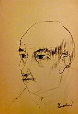 François Heaulmé encre originale signée expressionniste Le pinceau Paris